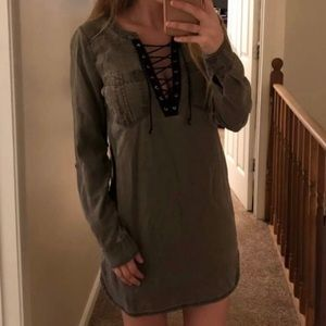 Express Olive Chambray Lace Up Dress